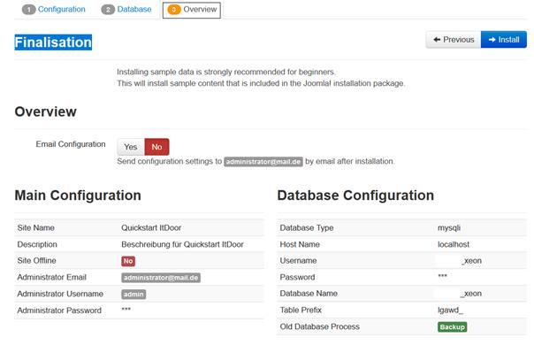 Joomla Quickstart Installation Finalisation