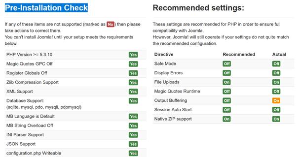 Joomla Quickstart Installation Finalisation Pre-Installation Check