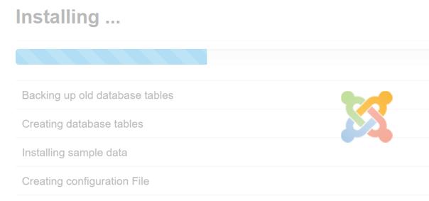 Joomla Quickstart Installation Installing läuft