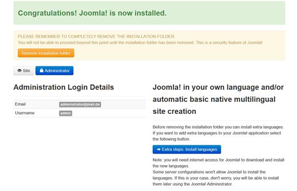 Joomla Quickstart Installation Erfolgsmeldung