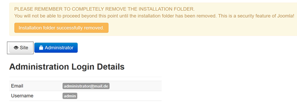 Nach Joomla Quickstart Installation Zugang zur Website oder zum Dashboard