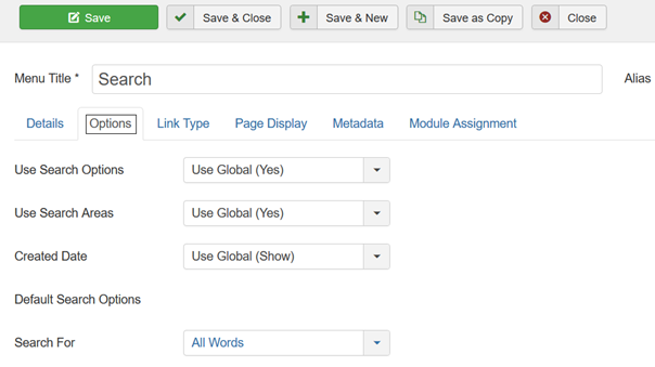 Joomla Menu Item Search Options