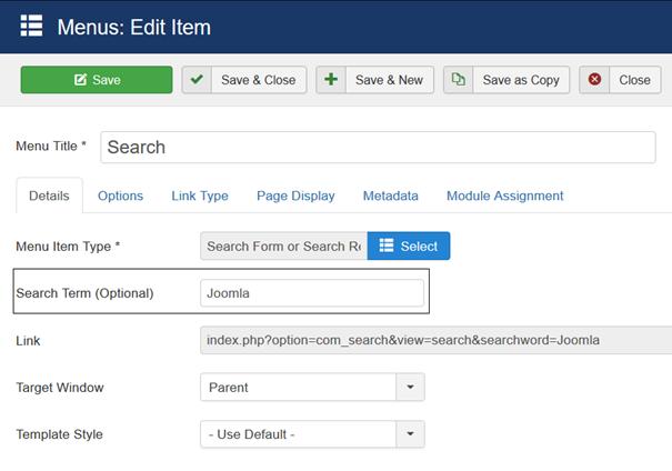 Joomla Menu Item Search mit vordefinierten Suchbegriff