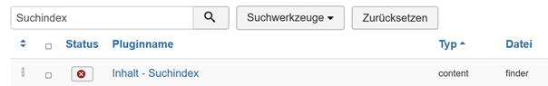 """Plugin """"Inhalt-Suchindes"""" aktivieren, damit indiziert werden kann"""