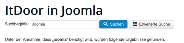 Joomla Website Smart Search mit vorbestimmer Suchanfrage
