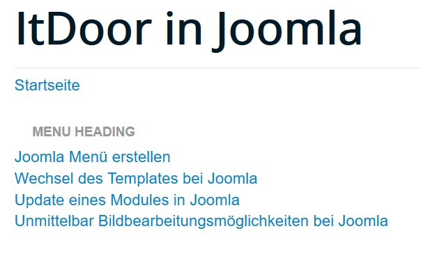 Joomla Menüüberschriften Menu Heading auf der Joomla Website