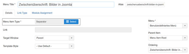 Joomla Menu Item mit Menu Item Type Separator für Zwischenüberschriften
