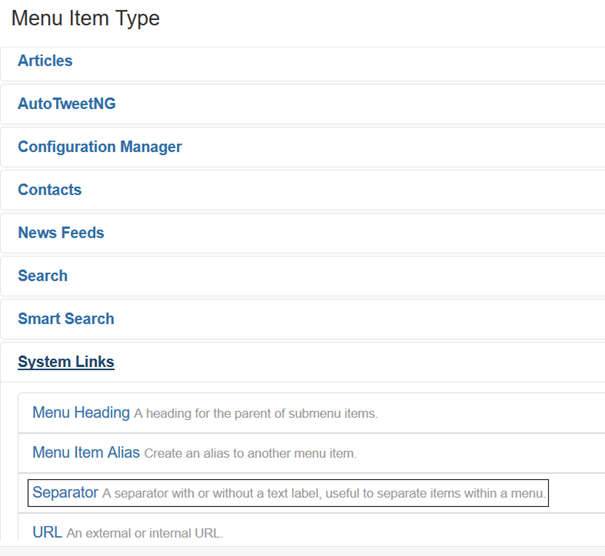 Joomla Liste Menu Item Types mit Menu Item Type Separator