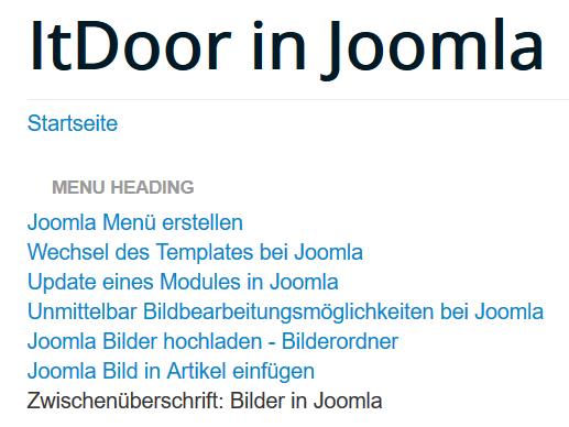 Joomla Website Zwischenüberschrift unter dem Menü