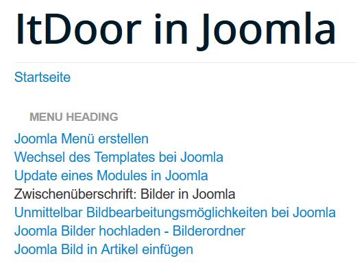 Joomla Website Die Zwischenüberschrift ist an der richtigen Stelle