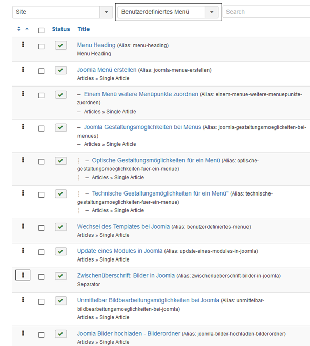 Joomla Liste Menu Items Mit der Maus die Zwischenüberschrift verschieben
