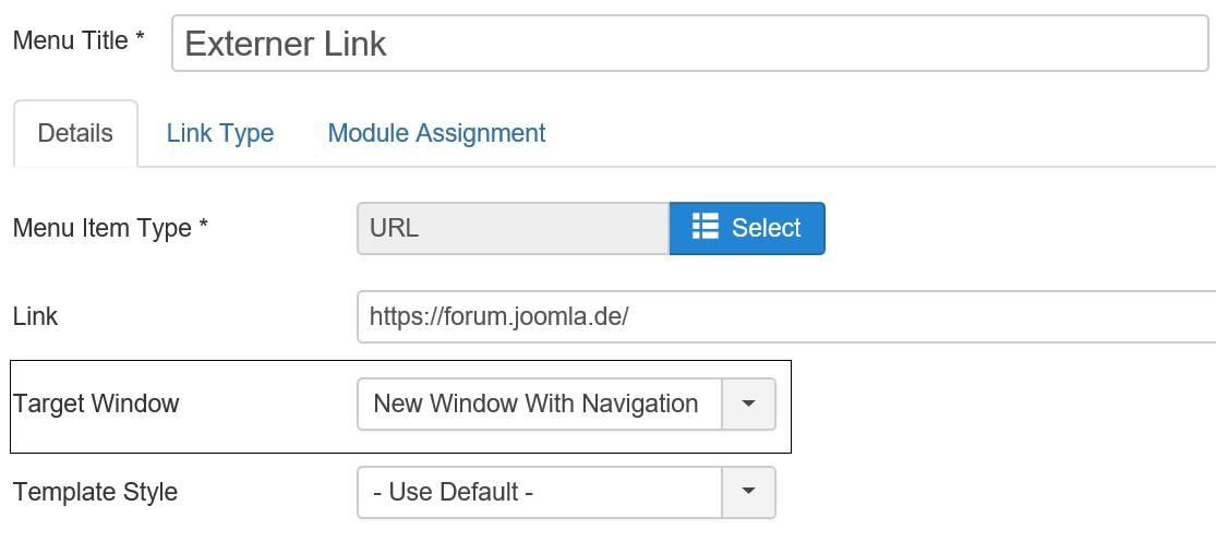 Das deutsche Joomla Forum erscheint im Browser in einem neuen Tab