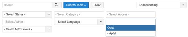 Joomla Artikelübersicht Suchauswahl der vorhandenen Tags