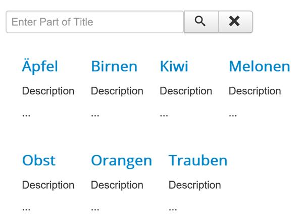 Joomla Website mit der Liste der Schlagwörter und einer Suchfunktion