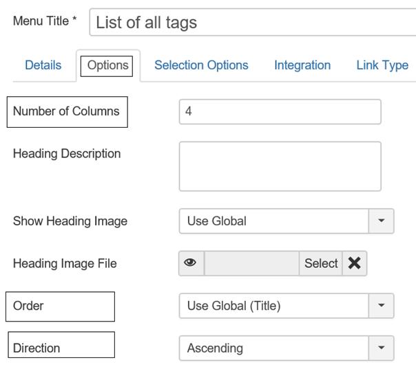 Joomla einige Einstellungsmöglichkeiten für List of all tags