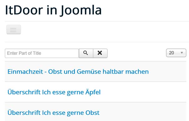 Joomla Website mit den Tagged Items und einer Suchfunktion
