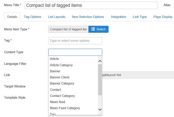 Joomla Feld Content Type bei Menu Item Compact list of tagged items