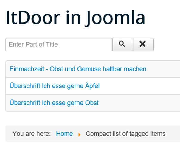 Joomla Website mit Compact list of tagged items und einer Suchfunktion