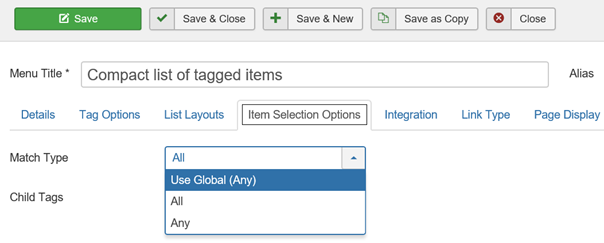 Joomla Suchtypen bei Compact list of tagged items