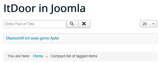 Joomla Website mit Compact list of tagged items bei Suchtyp All
