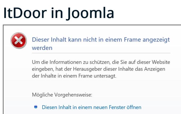 Die Website des deutschen Joomla Forums ist für Frames gesperrt