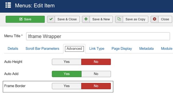 Joomla Rahmen für Iframe Wrapper wegmachen