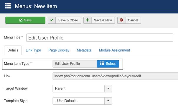 Joomla Menu Item Edit User Profile linke Seite der Maske