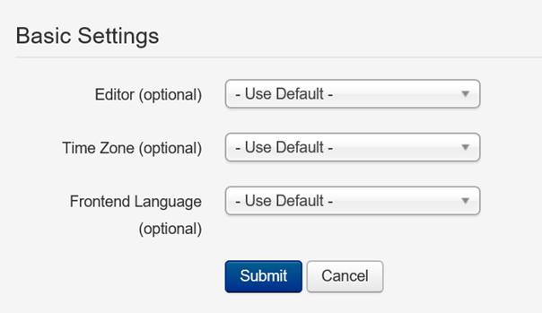 Joomla Basic Settings des Profils bei Benutzergruppe Author
