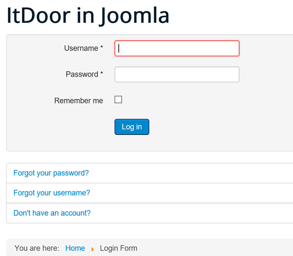 Login Form auf der Joomla Website