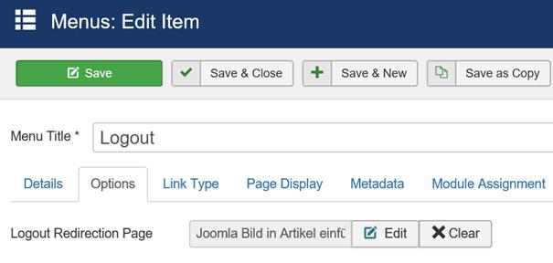 Joomla Memu Item Logout bei Logout Redirection Page Artikel integriert