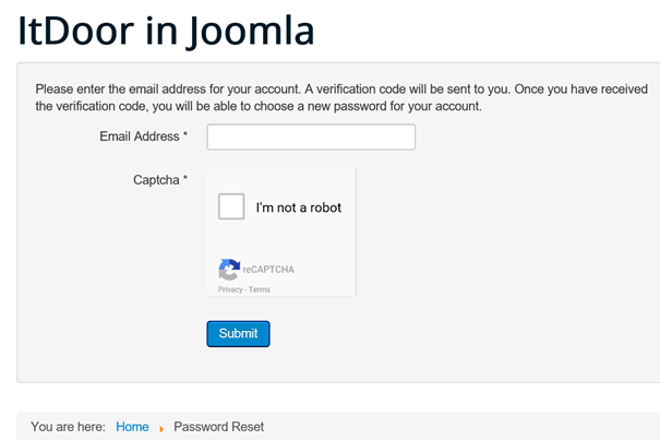 Joomla Website Antrag für Verifikations Code für Password Reset