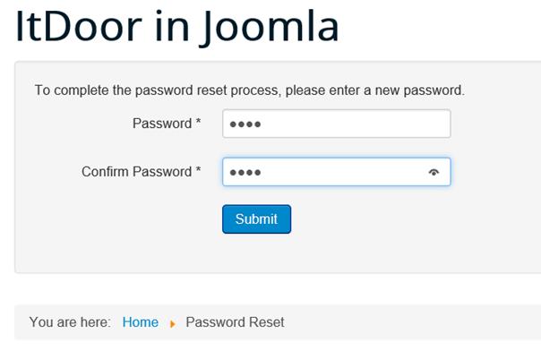 Joomla Website Das neue Passwort eintragen