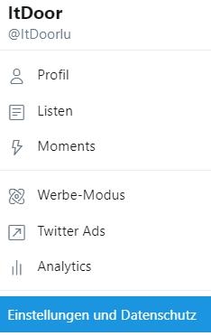 Weg zu Einstellungen bei Twitter