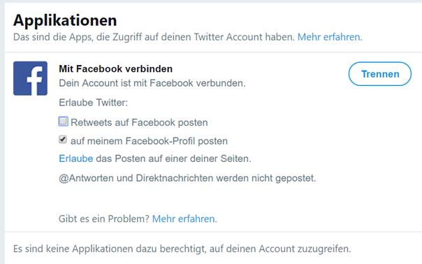 Bestätigung, daß Twitter jetzt mit Facebook verbunden ist