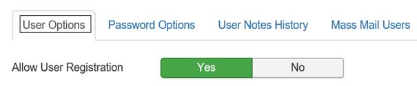 Joomla Allow User Registration muß auf Yes eingestellt sein