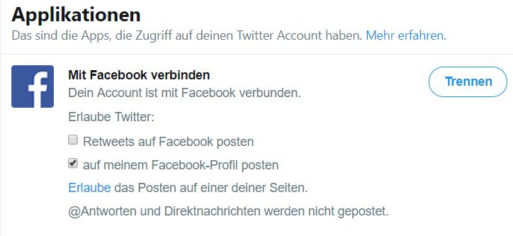 """Twitter Menüfolge """"Einstellungen-Apps"""" Button Trennen"""