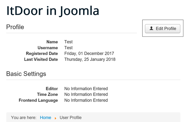 User Profile auf der Joomla Website