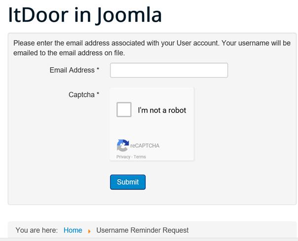 Joomla Website Eingabe der E-Mail Adresse zur Übersendung des Benutzernamens
