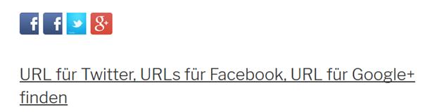Website mit Icons für Facebook, Twitter und Google+
