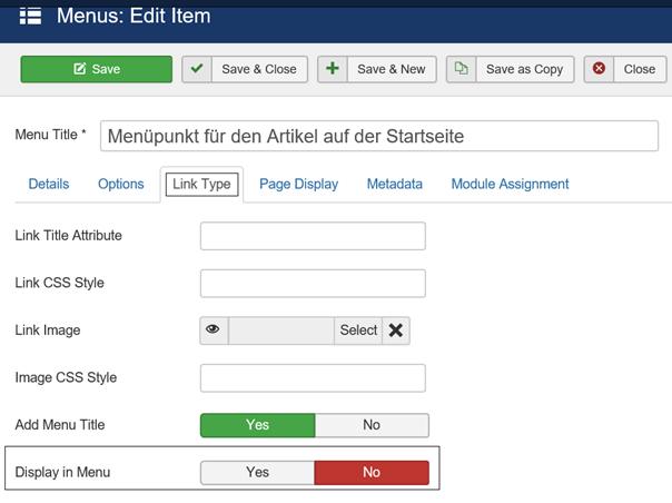 Joomla Menüpunkt soll nicht im Menü/nicht auf der Website erscheinen