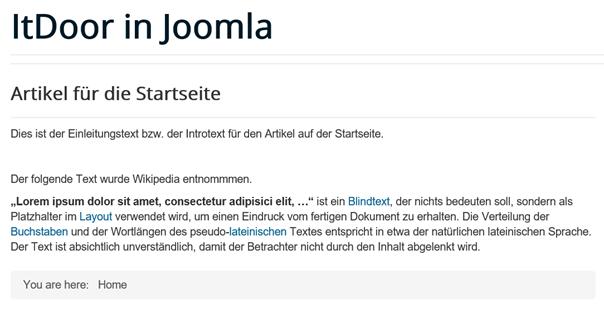 Joomla Artikel auf der Startseite ohne den ausgeblendeten Menüpunkt