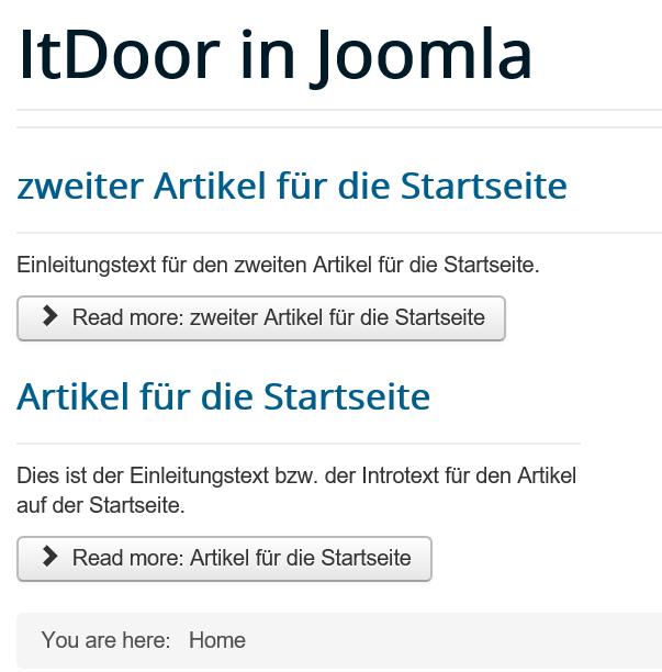Joomla Mehrere Artikel auf der Startseite Menu Item Type Category Blog