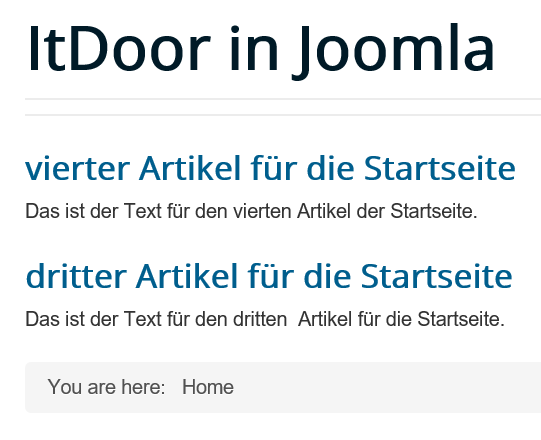 Joomla Mehrere Artikel auf der Startseite Menu Item Type Featured Articles