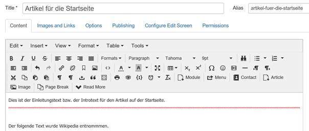 Joomla Artikel Trennungslinie zwischen Einleitungstext und dem Rest des Textes