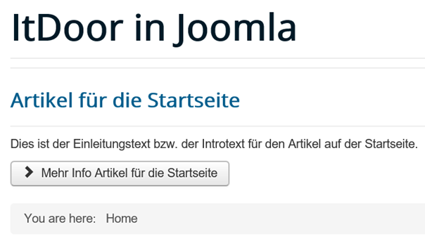 Joomla Website mit verändertem Text auf dem Read more Button