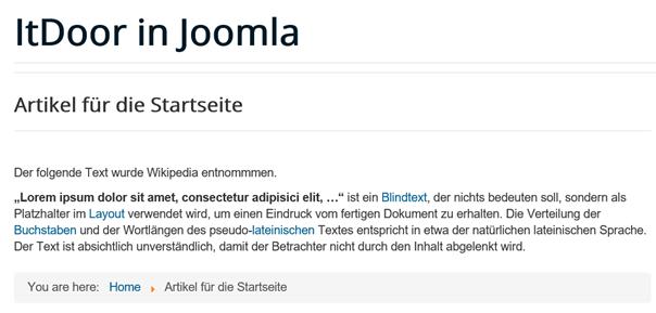 Intro Text ist auf der Joomla Website ausgeblendet