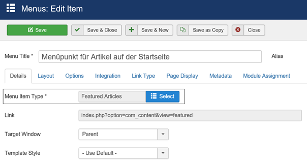 Joomla Menu Item mit Menu Item Type Featured Articles für Intro Text