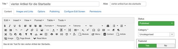 Joomla Festlegung eines Artikels als Featured Article für Intro Text