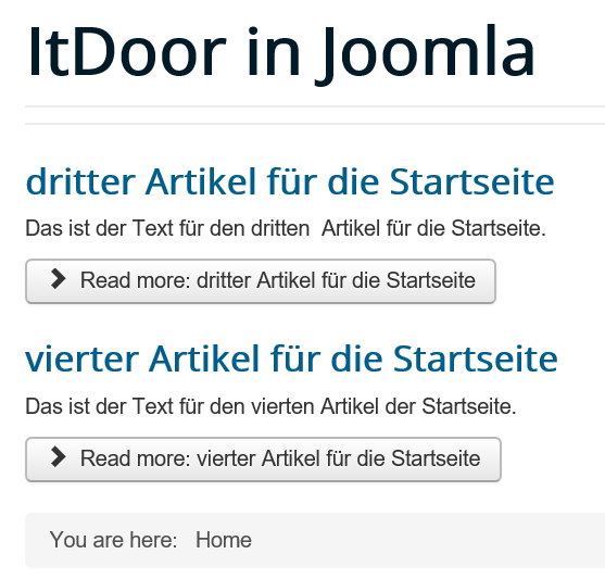 Joomla Website mit Einleitungstexten und Read more Buttons Featured Articles