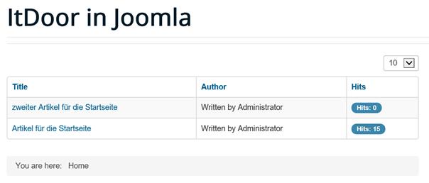 Artikel auf der Joomla Startseite indirekt mit Menu Item Type Category Liste verbunden